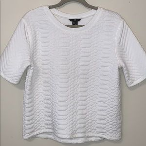Texture Quilted White Tee